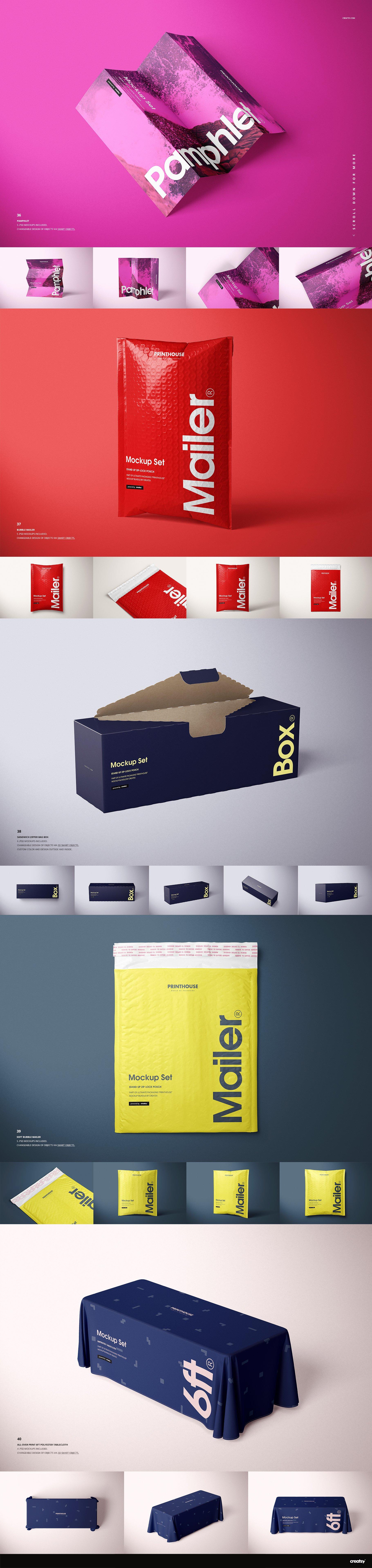 [淘宝购买] 273款时尚购物手提纸袋快递气泡塑料袋纸箱设计贴图PSD样机 Printhouse Mockups Bundle v.1插图(12)