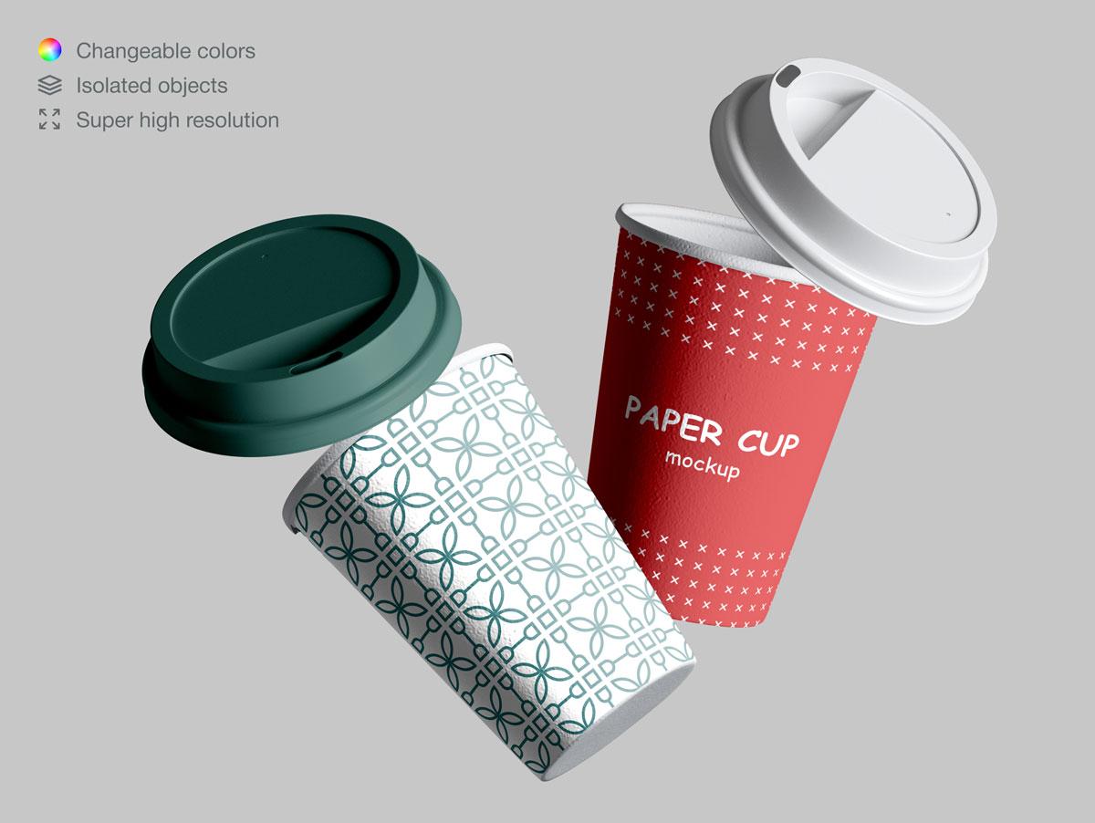 咖啡纸杯包装纸袋设计展示样机模板合集 Takeaway Paper Cups and Coffee Branding Mockup Set插图