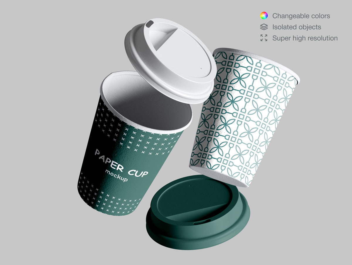 咖啡纸杯包装纸袋设计展示样机模板合集 Takeaway Paper Cups and Coffee Branding Mockup Set插图(2)