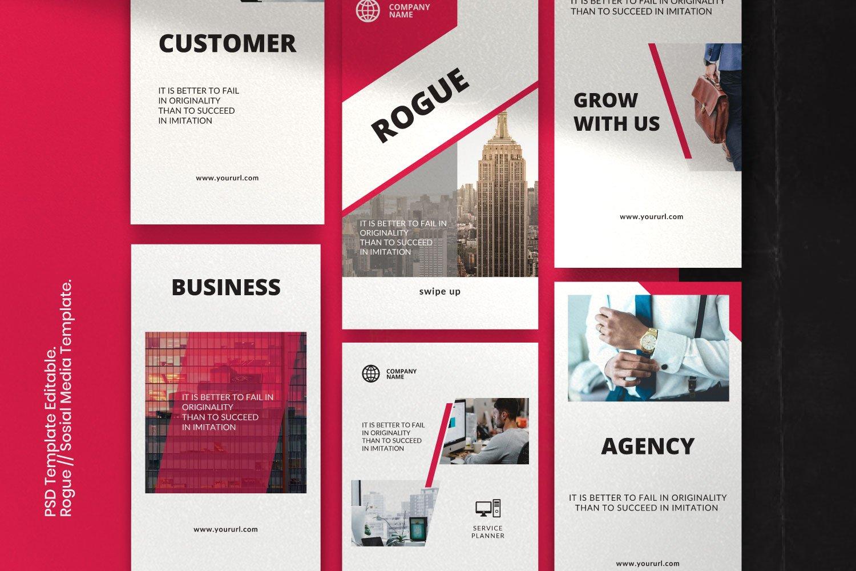 时尚几何元素修饰品牌推广新媒体电商徽标模板 ROGUE – Business Social Media Brand插图(4)