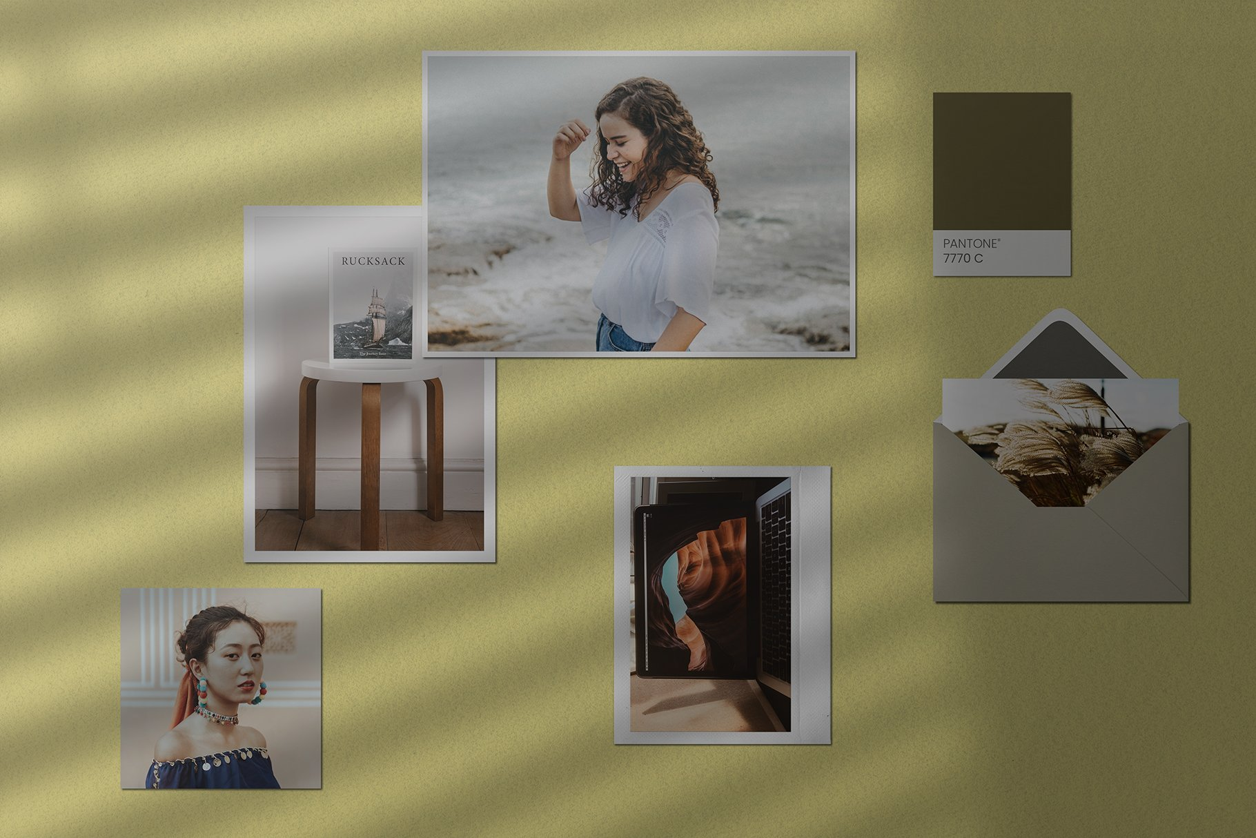 优雅剪贴相片情绪版卡片拼贴设计智能贴图展示样机 Moodboard Mockup Kit插图(4)