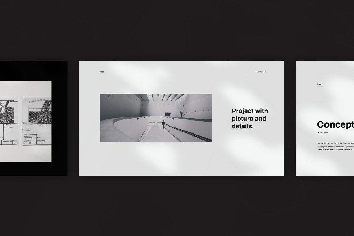 黑白调摄影作品集设计演示文稿模板 Solasta – Powerpoint插图(4)