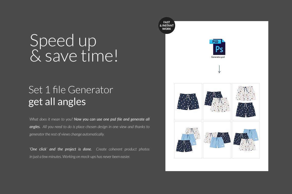 婴儿游泳短裤裤衩印花图案设计展示样机套装 Baby Swimming Shorts Mockups Set插图(9)