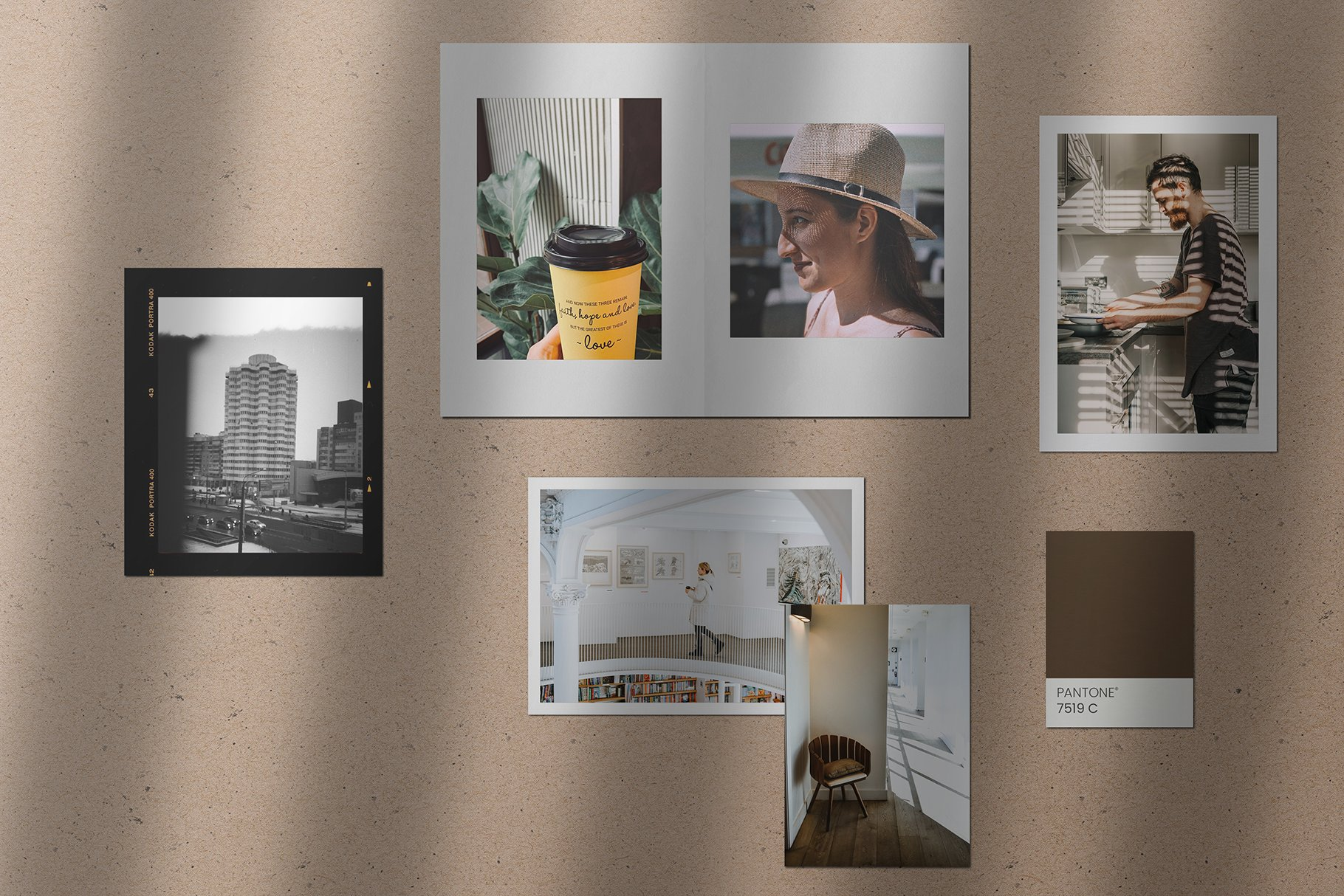 时尚优雅剪贴相片情绪版卡片设计展示智能贴图样机PSD模板 Moodboard Mockup Kit插图(4)