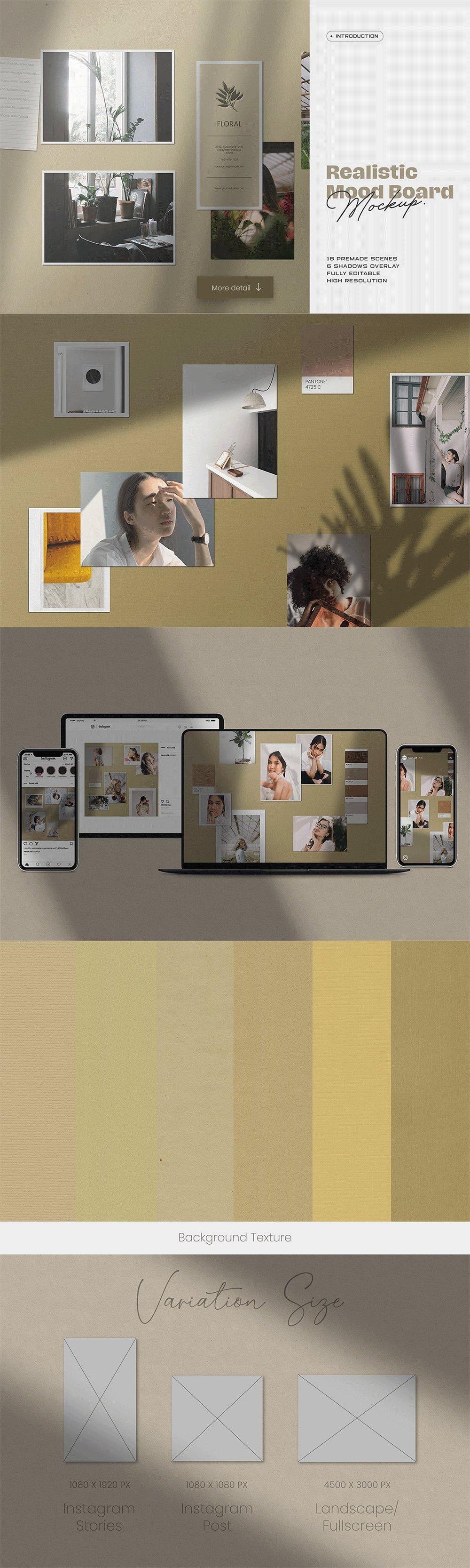 [淘宝购买] 10套文艺情绪板摄影相片卡片拼贴设计PSD源文件 Bundle Moodboard Mockup V2插图(4)