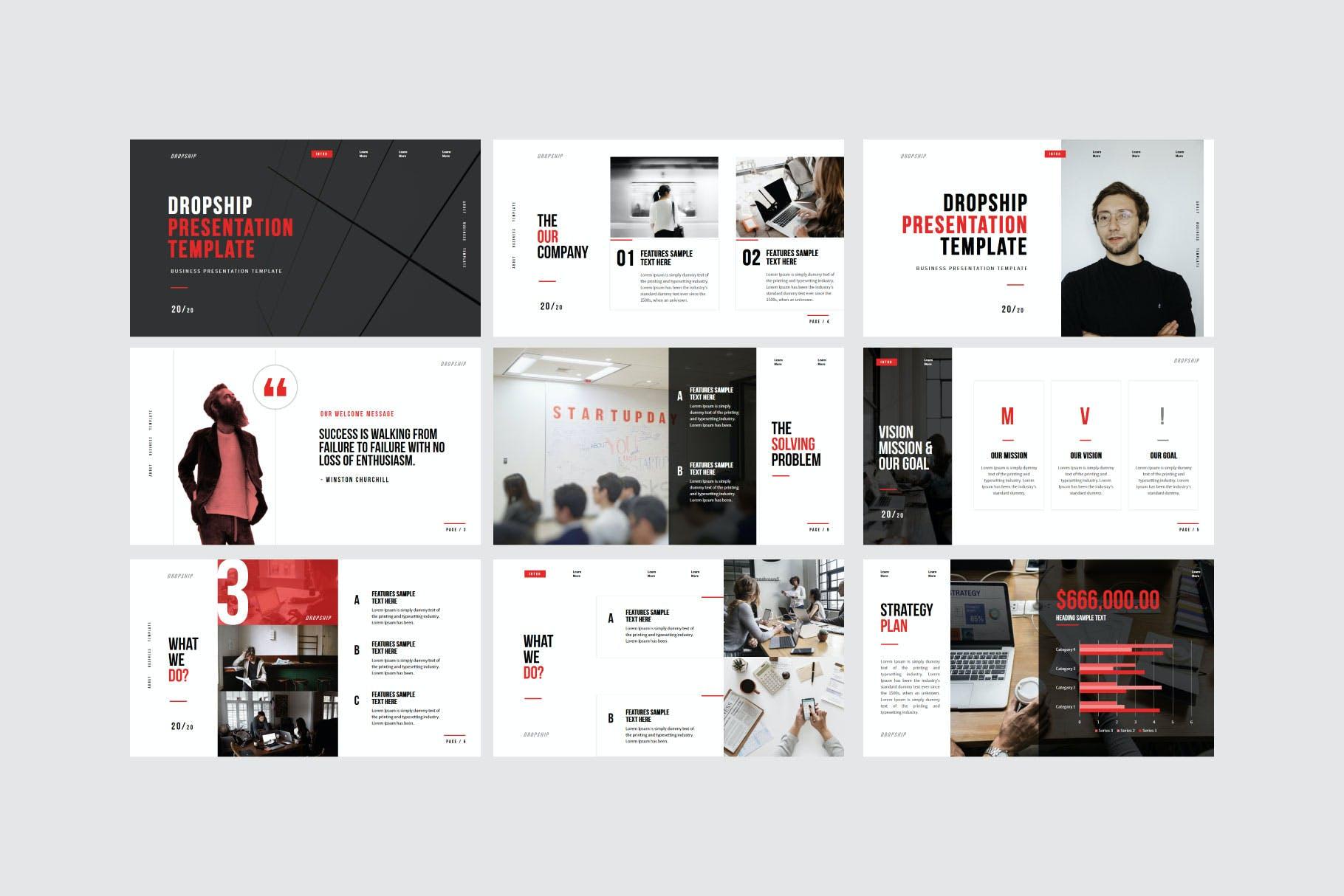 简约服装摄影作品集演示文稿设计模板 Dropship – Powerpoint Template插图(4)
