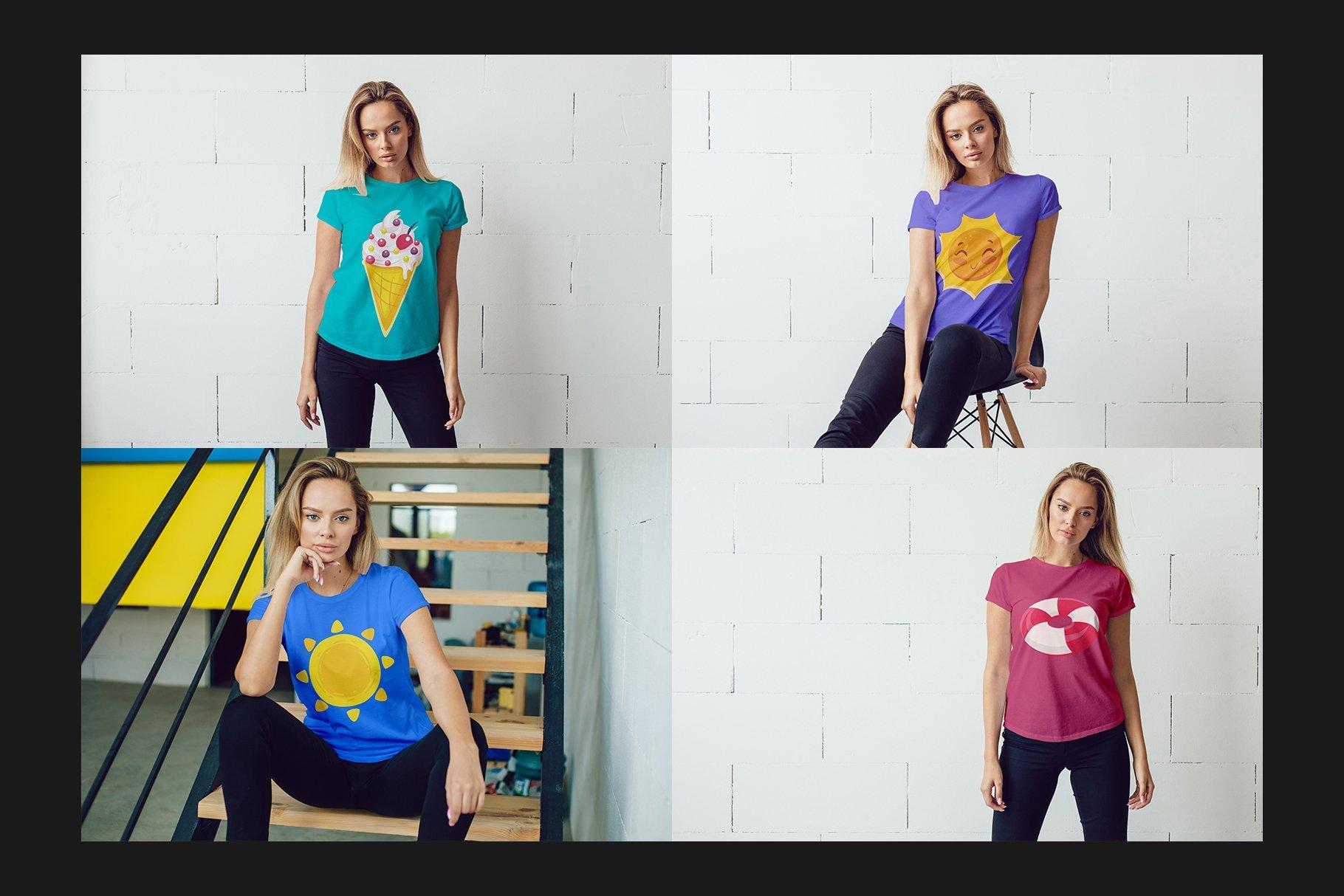 12个女式T恤半袖衫印花图案设计展示样机模板 T-Shirt Mockup Set插图(4)