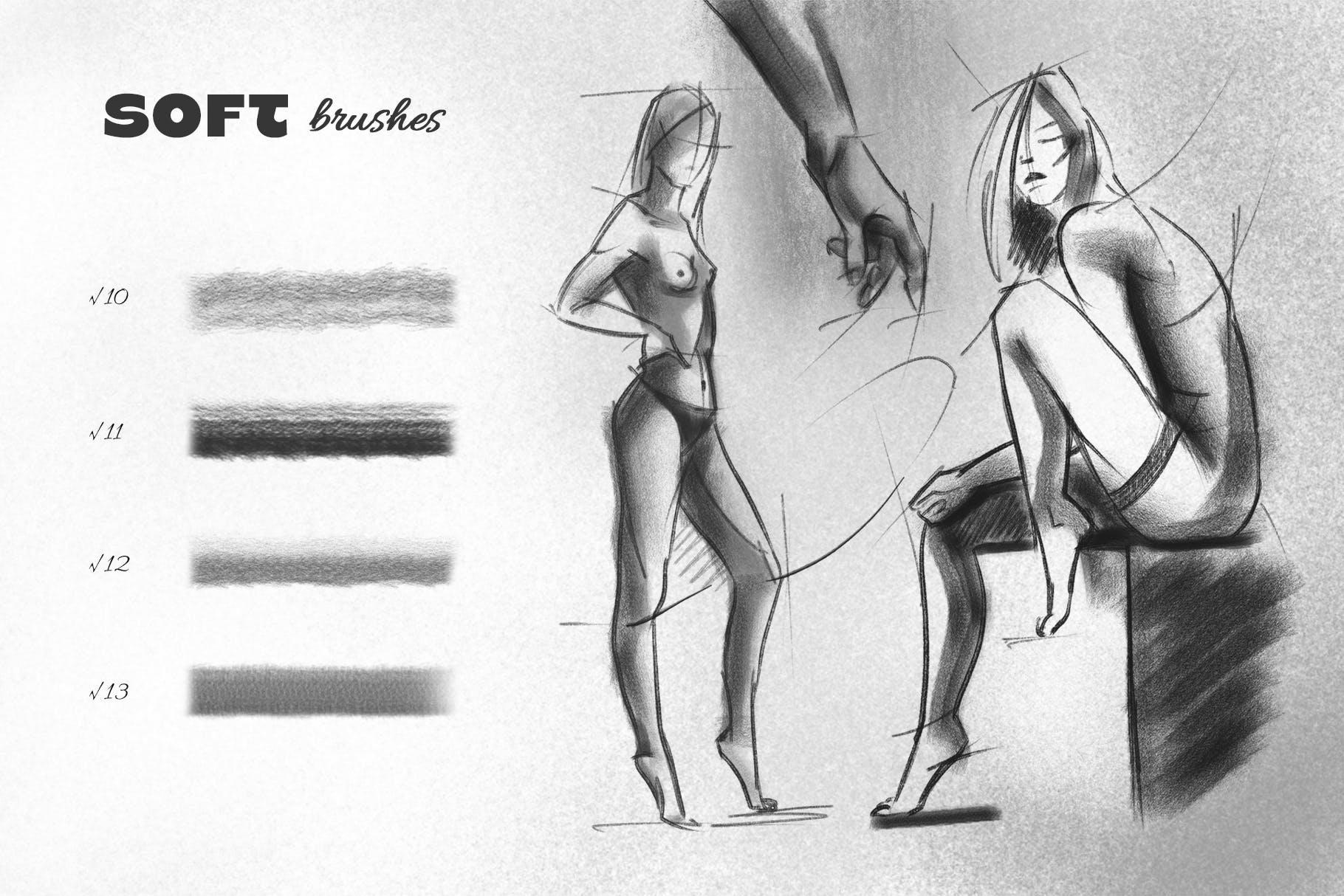 25款专业铅笔素描草图绘画PS笔刷素材套装 Pencil Photoshop Brushes插图(4)