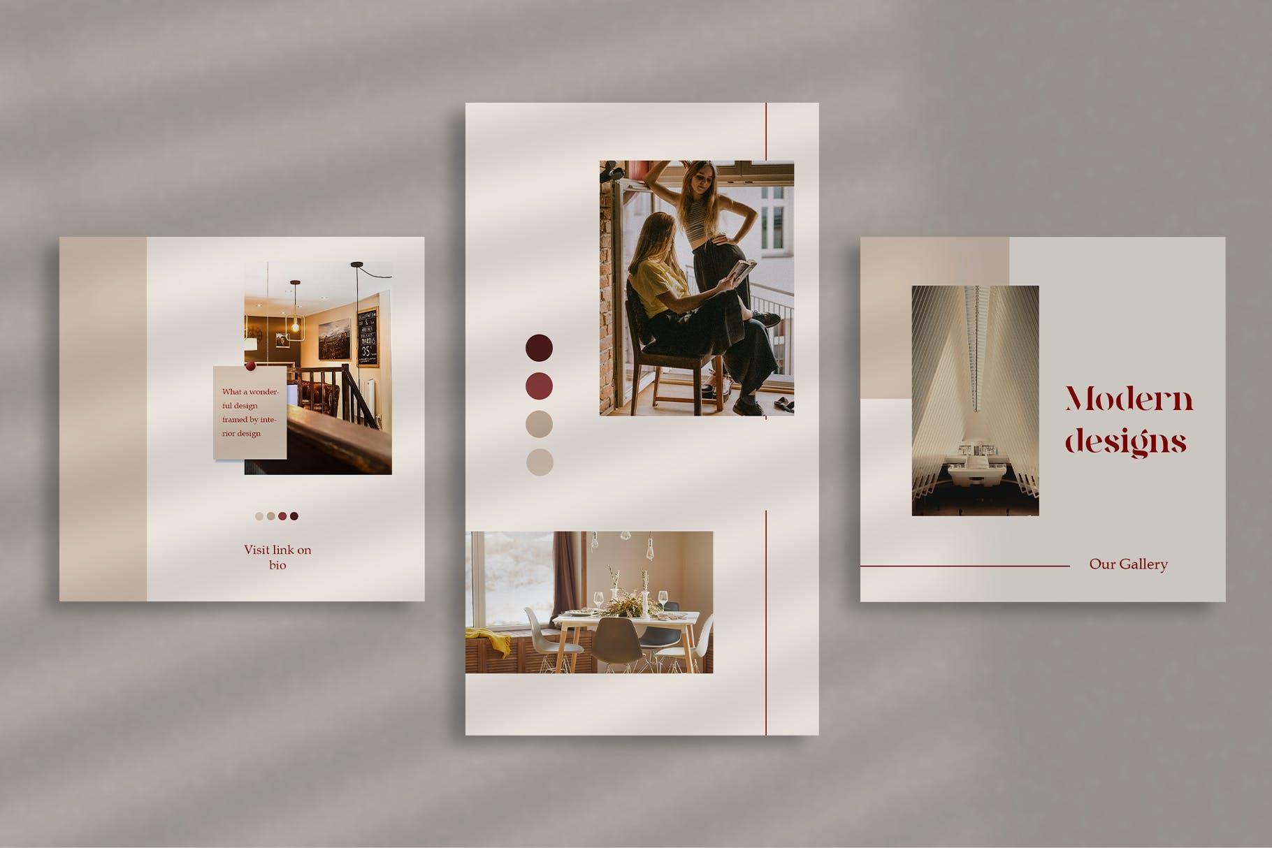 时尚室内设计摄影作品集推广新媒体电商海报模板 Walnut – Instagram Template插图(4)