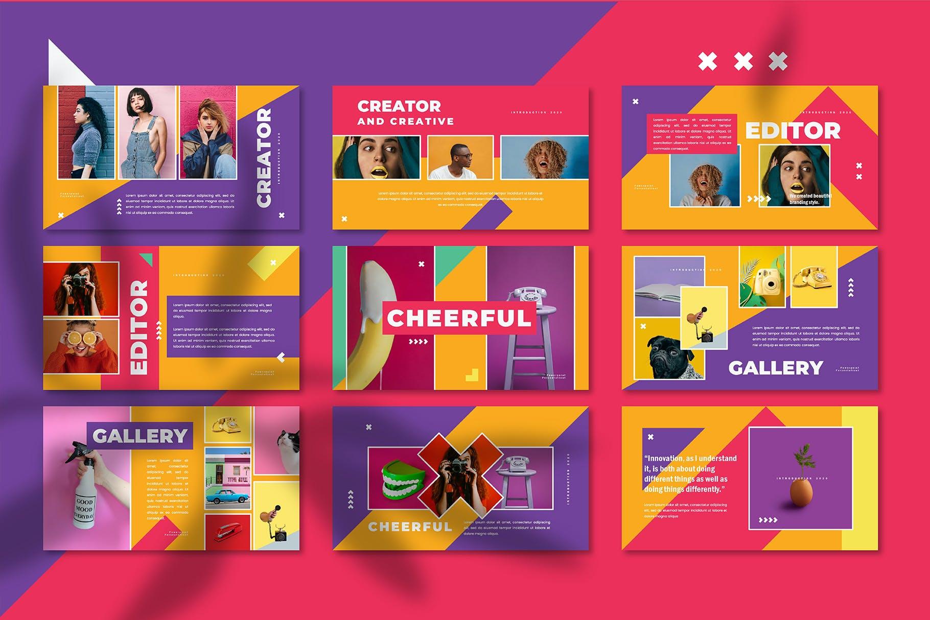 多彩营销策划案PPT幻灯片设计模板 Cheerful – Power Point Template插图(4)