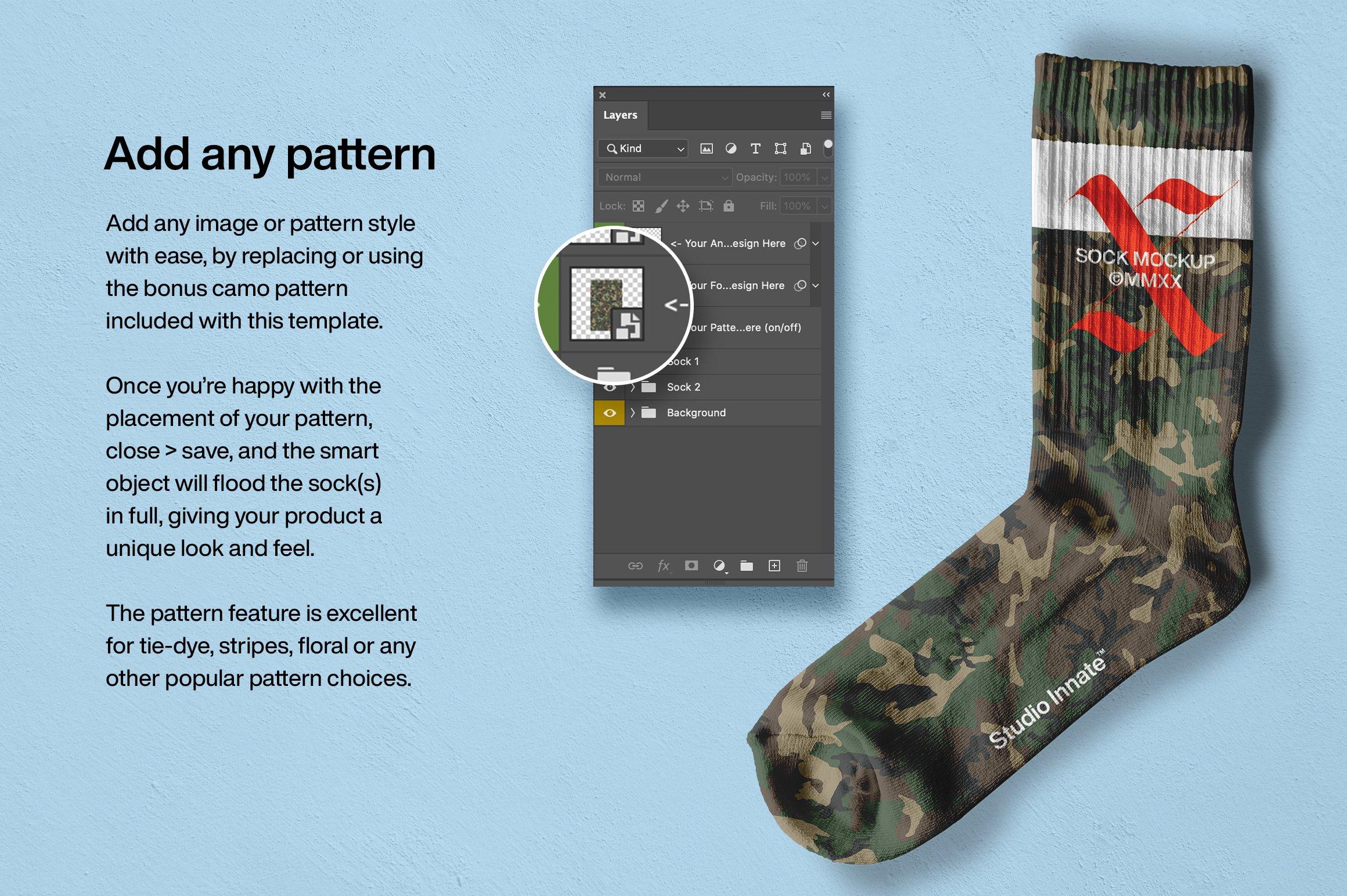 简约运动长筒袜子印花图案设计展示贴图样机 Sports Socks Mockup插图(4)