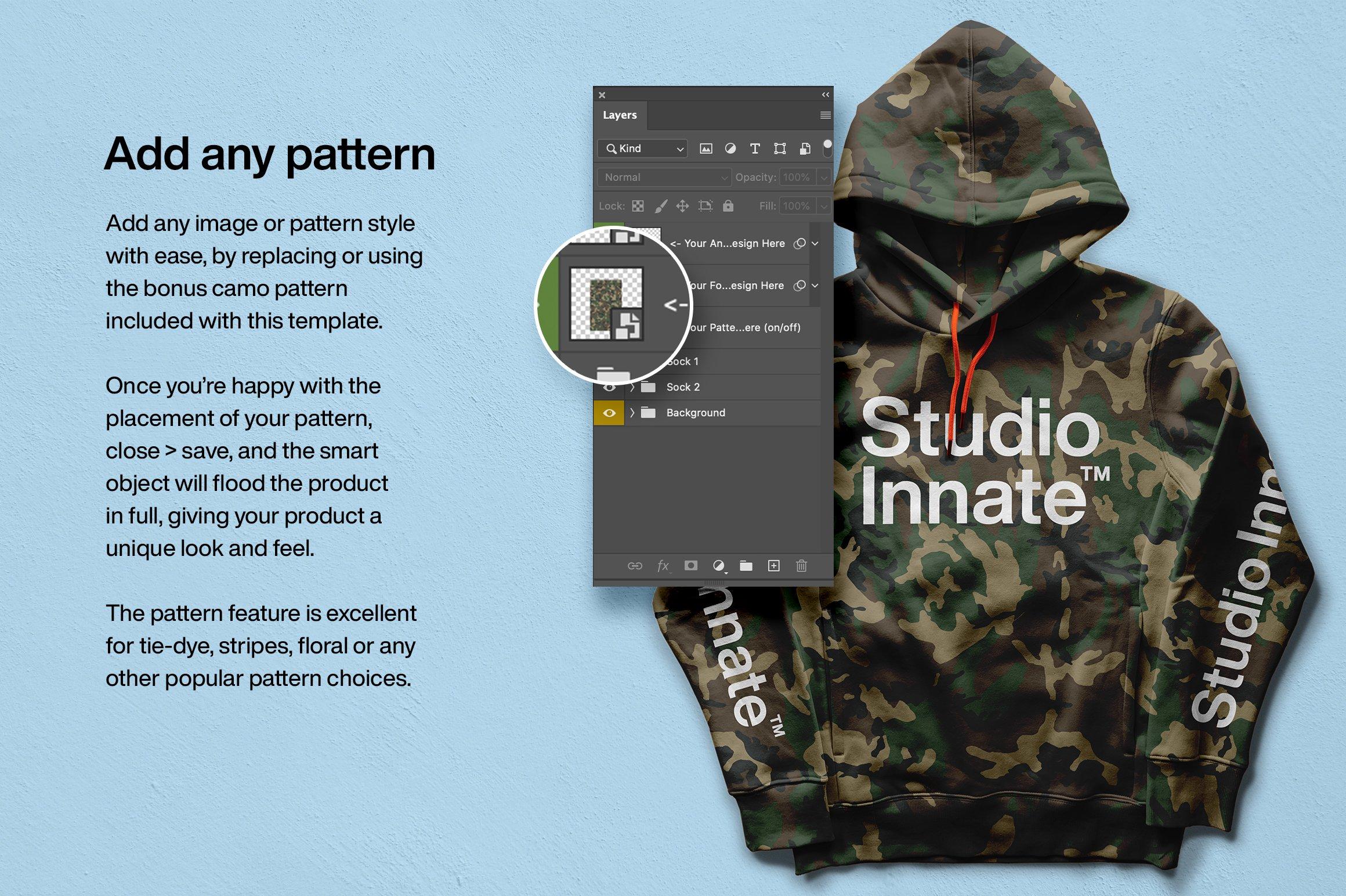 连衣帽卫衣正面印花图案设计展示贴图样机模板 Hoodie Front Mockup插图(4)