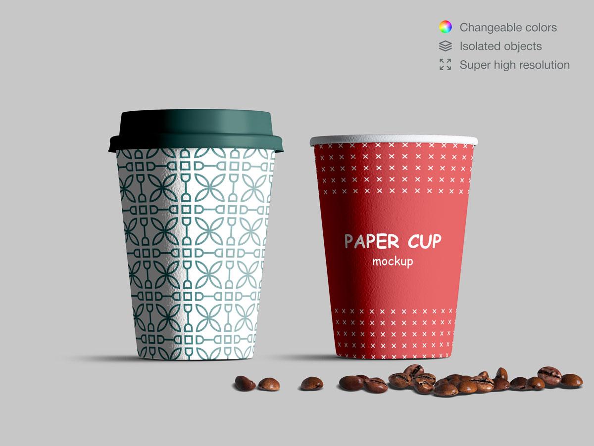 咖啡纸杯包装纸袋设计展示样机模板合集 Takeaway Paper Cups and Coffee Branding Mockup Set插图(3)