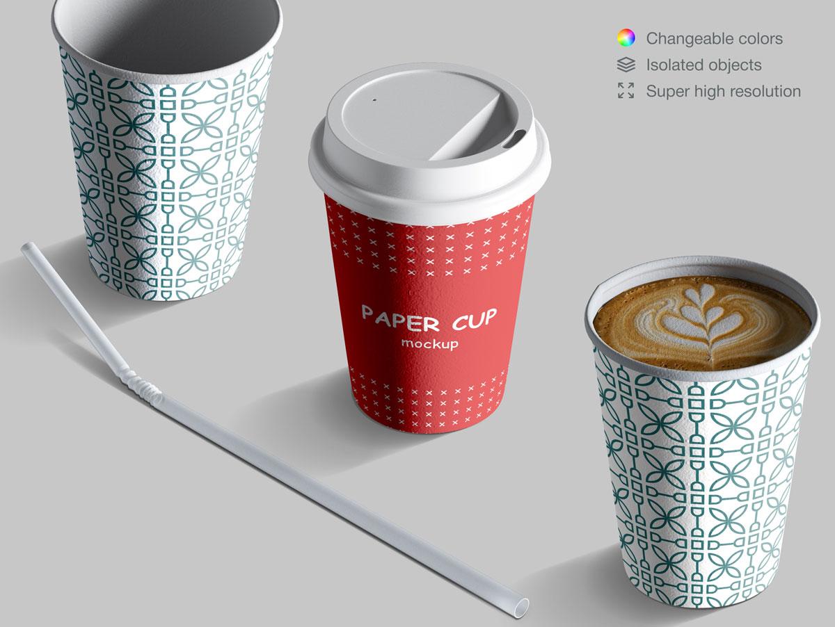 咖啡纸杯包装纸袋设计展示样机模板合集 Takeaway Paper Cups and Coffee Branding Mockup Set插图(6)
