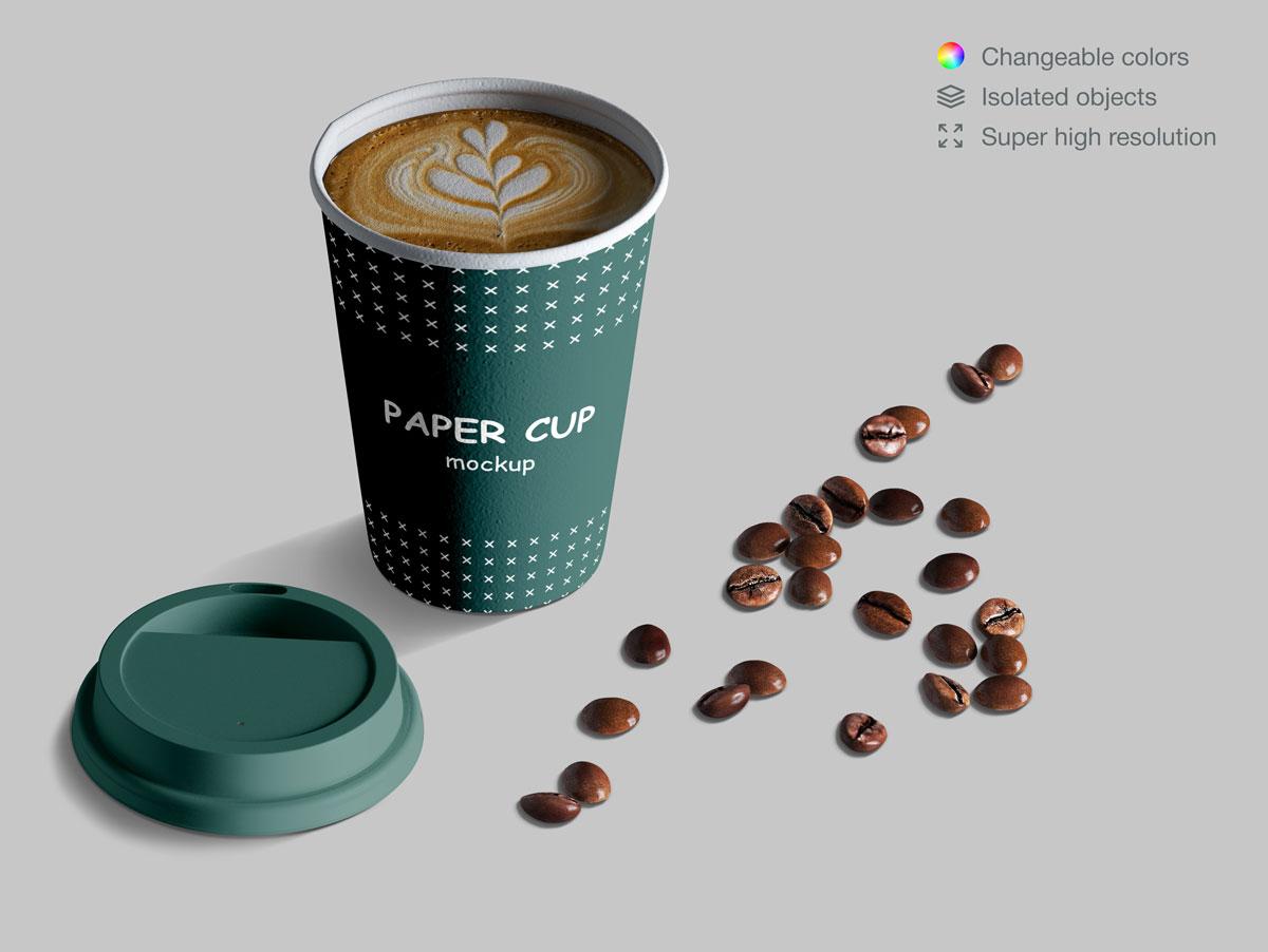 咖啡纸杯包装纸袋设计展示样机模板合集 Takeaway Paper Cups and Coffee Branding Mockup Set插图(9)