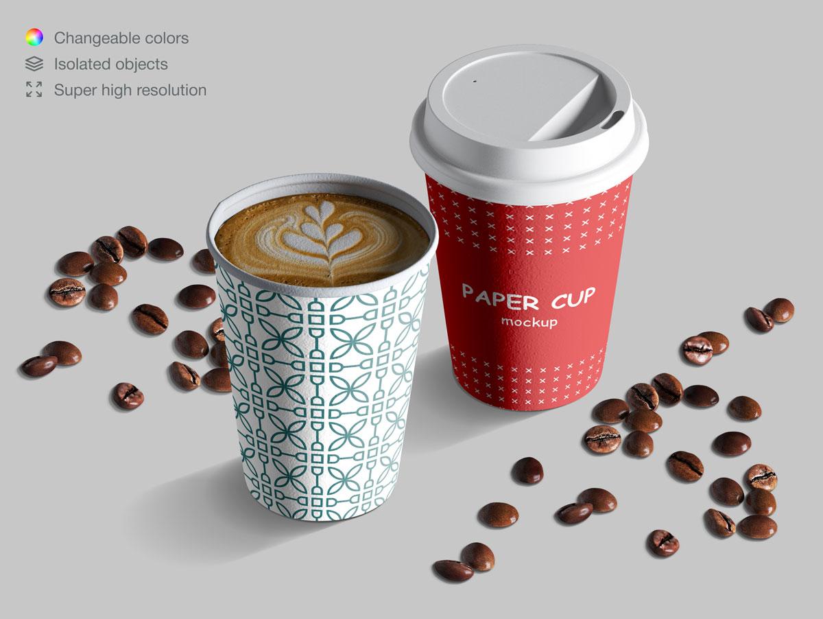 咖啡纸杯包装纸袋设计展示样机模板合集 Takeaway Paper Cups and Coffee Branding Mockup Set插图(10)