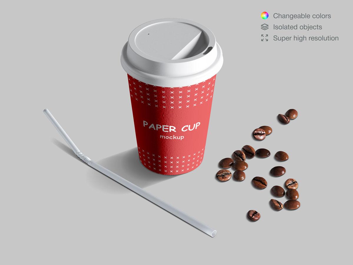咖啡纸杯包装纸袋设计展示样机模板合集 Takeaway Paper Cups and Coffee Branding Mockup Set插图(11)
