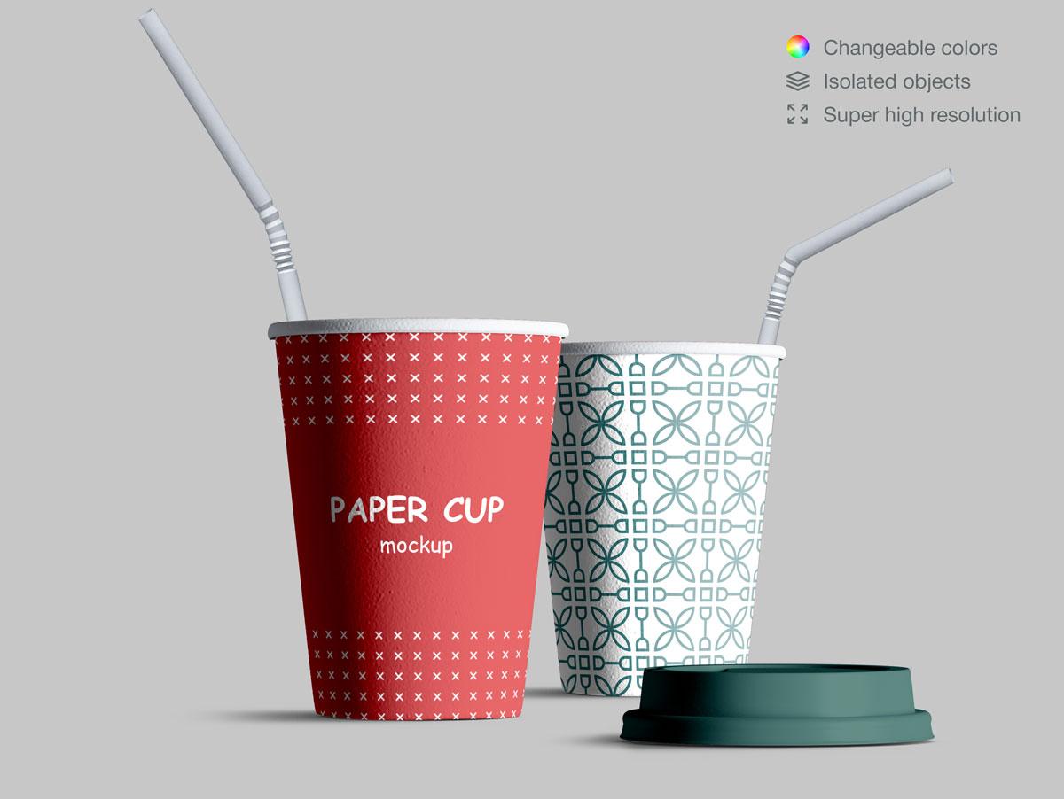 咖啡纸杯包装纸袋设计展示样机模板合集 Takeaway Paper Cups and Coffee Branding Mockup Set插图(12)