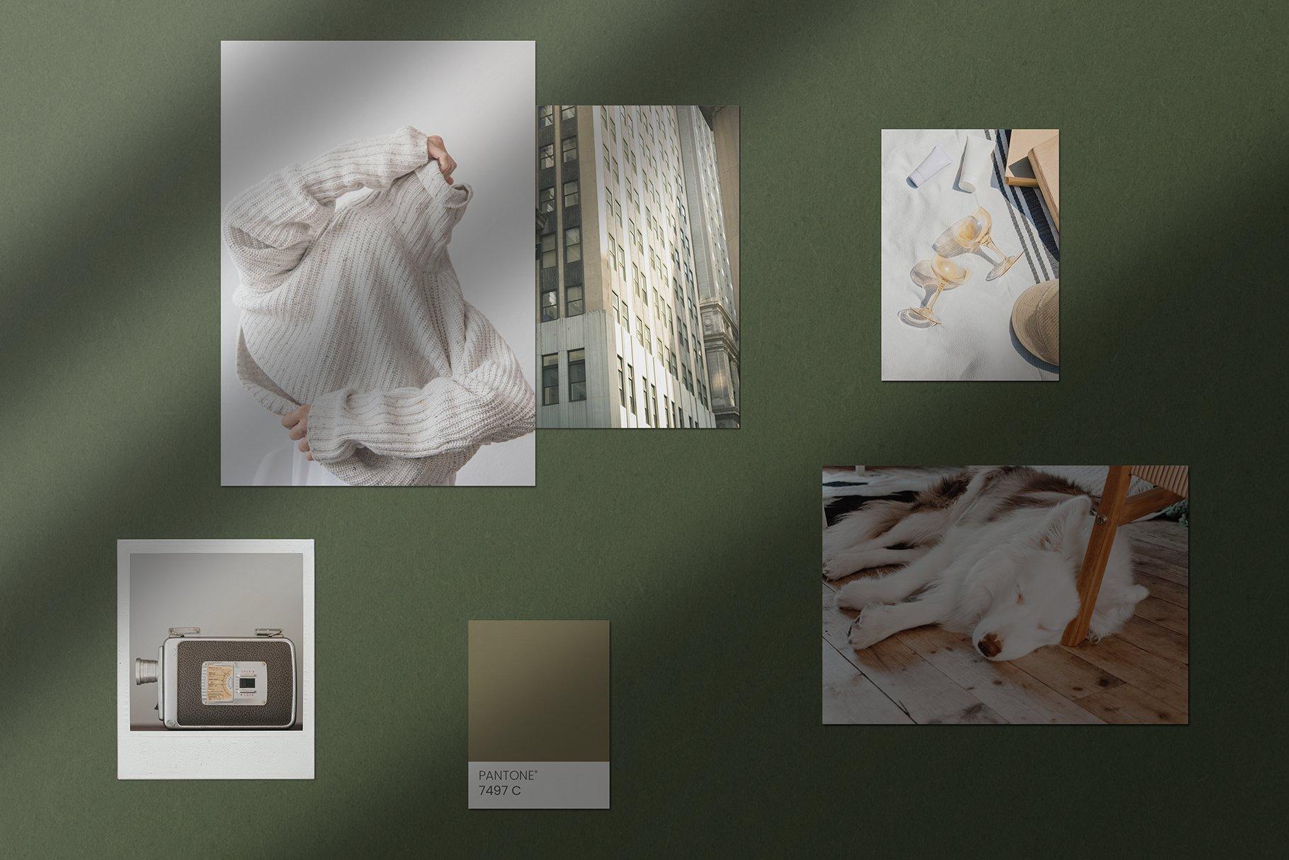 优雅剪贴相片情绪版卡片拼贴设计智能贴图展示样机 Moodboard Mockup Kit插图(5)