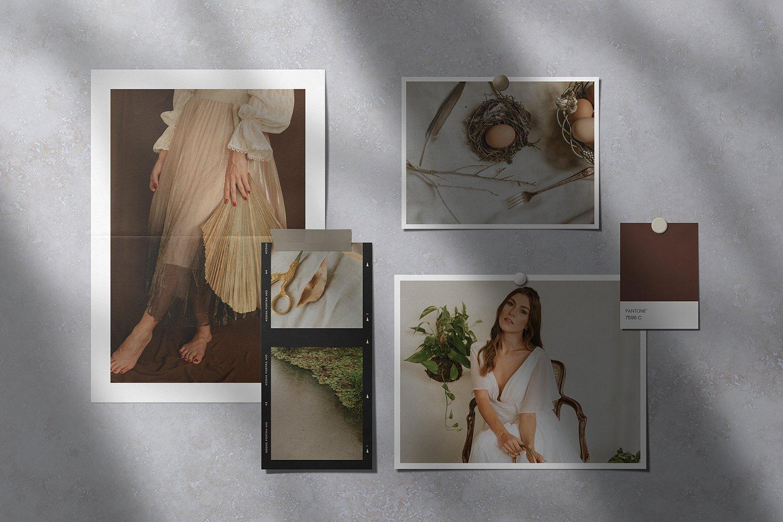 现代时尚剪贴相片情绪版卡片设计展示智能贴图样机模板 Moodboard Mockup Kit插图(5)