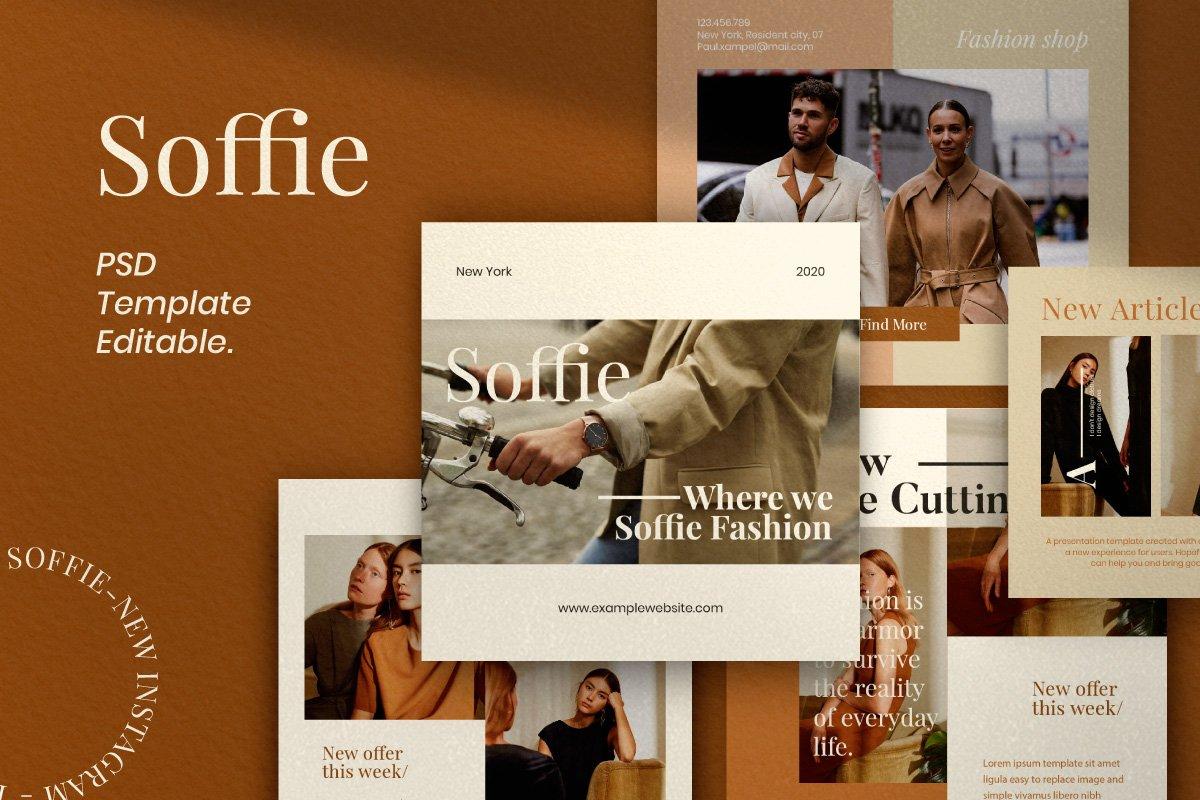 现代时尚服装品牌摄影推广新媒体电商海报模板 Soffie – Fashion Brand Social Media插图(5)