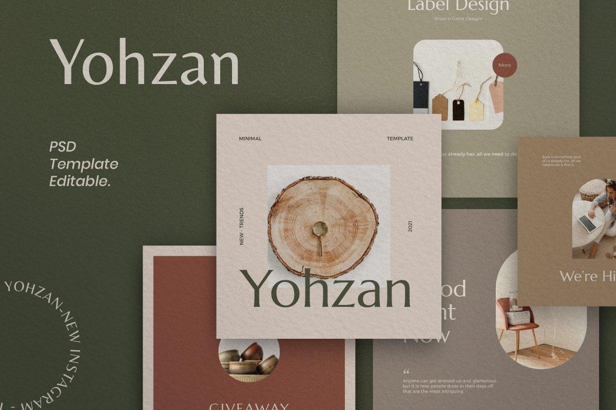 时尚优雅服装品牌推广新媒体电商海报设计PSD模板 Yohzan Instagram Post & Story Brand插图(5)
