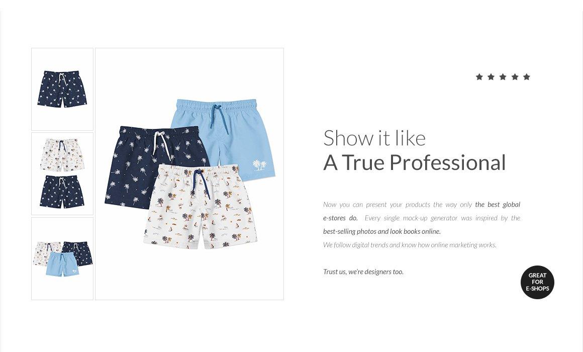 婴儿游泳短裤裤衩印花图案设计展示样机套装 Baby Swimming Shorts Mockups Set插图(10)