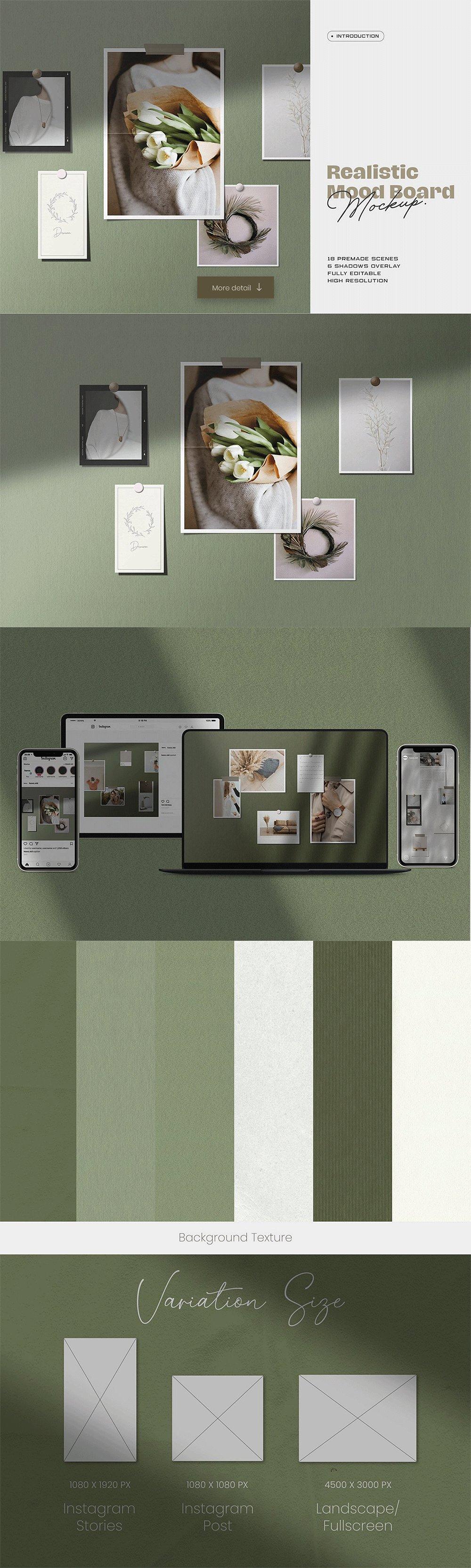 [淘宝购买] 10套文艺情绪板摄影相片卡片拼贴设计PSD源文件 Bundle Moodboard Mockup V2插图(5)
