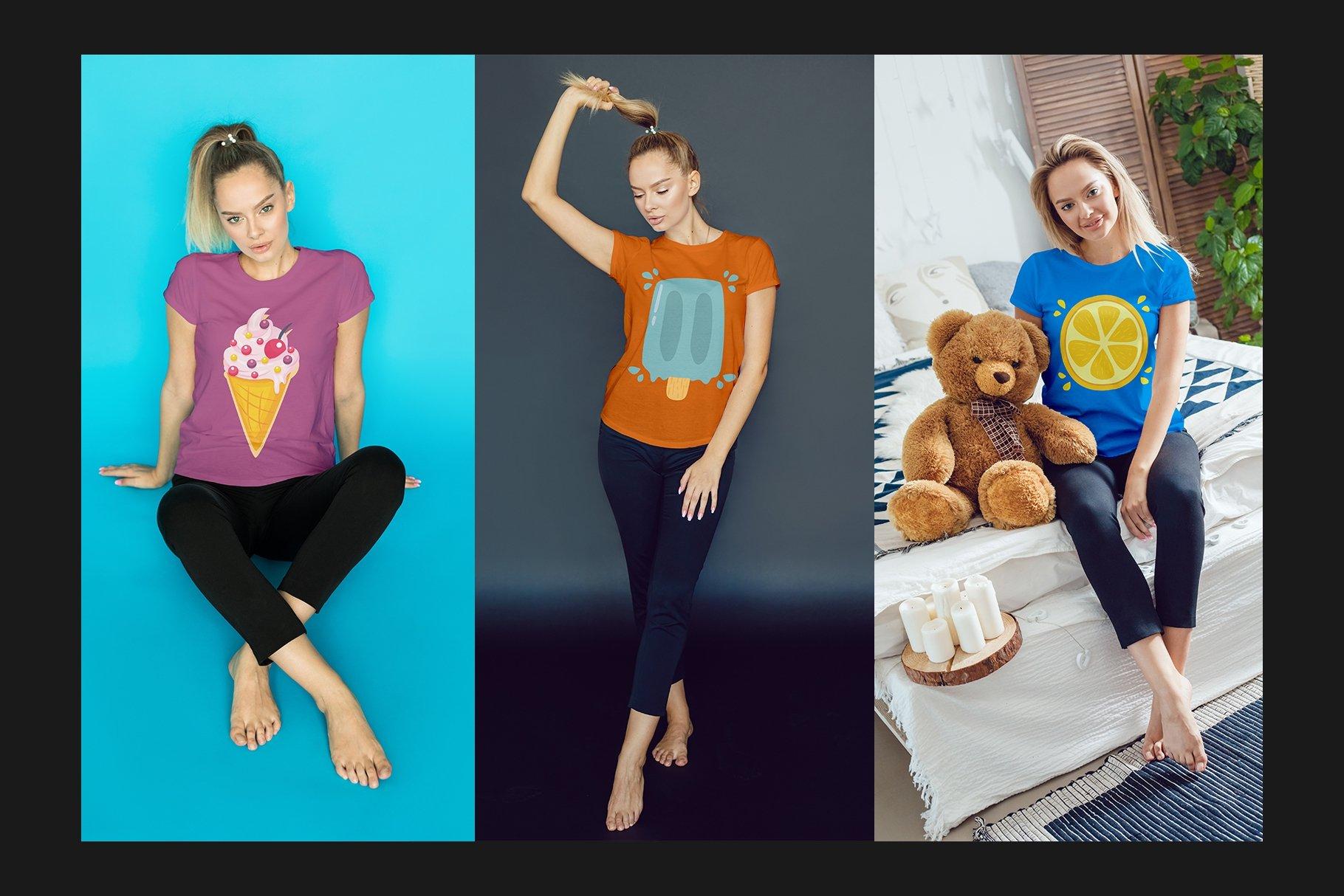 12个女式T恤半袖衫印花图案设计展示样机模板 T-Shirt Mockup Set插图(5)