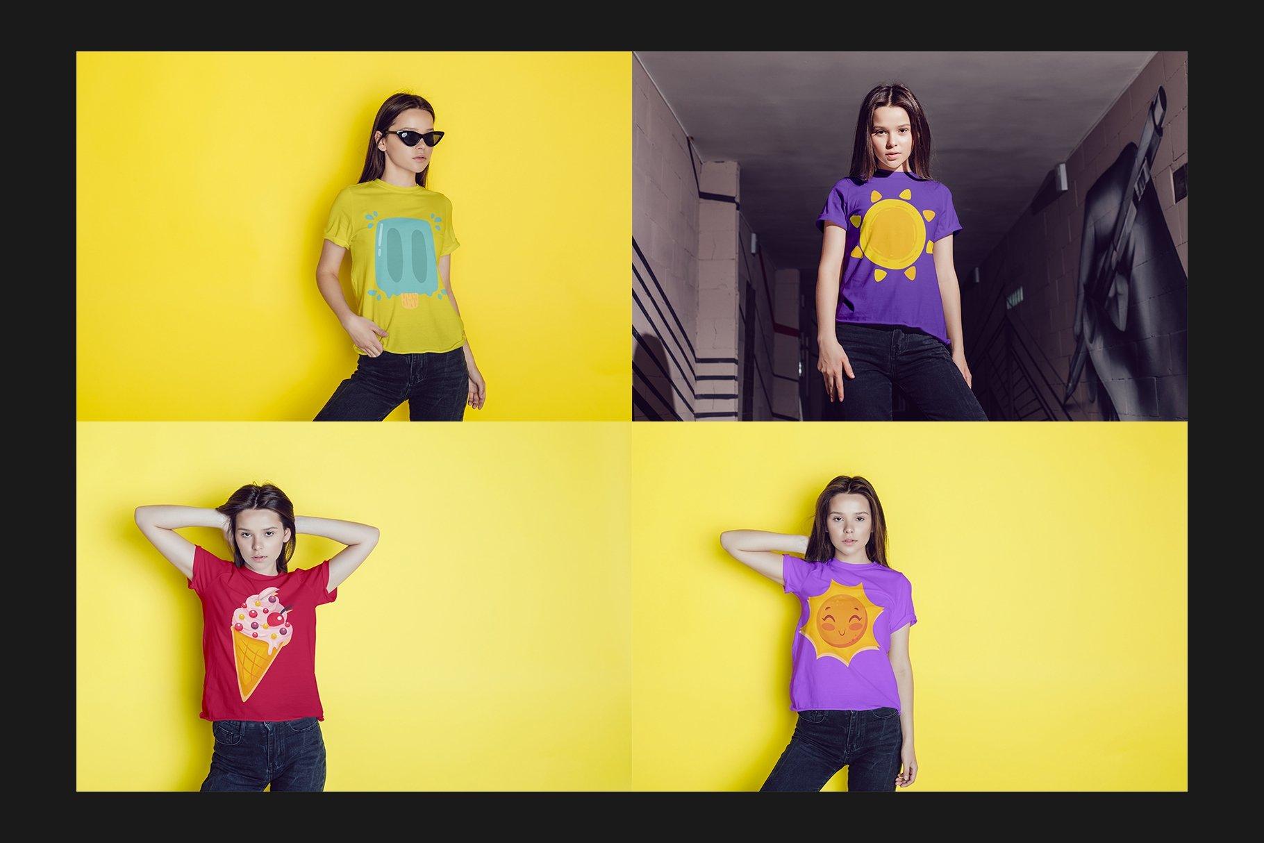 青少年T恤半袖衫印花图案设计展示样机合集 Teenager T-Shirt Mockup Set插图(6)