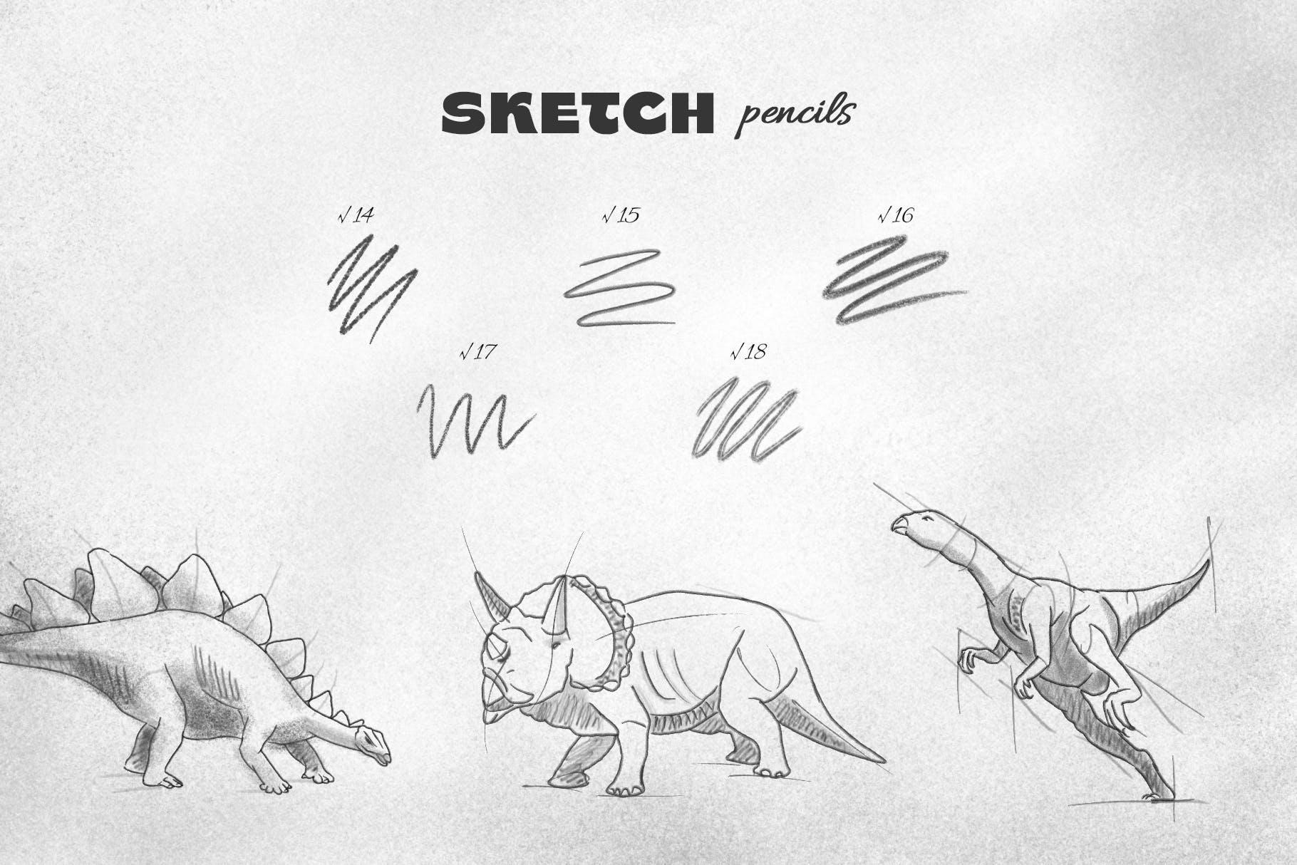 25款专业铅笔素描草图绘画PS笔刷素材套装 Pencil Photoshop Brushes插图(5)