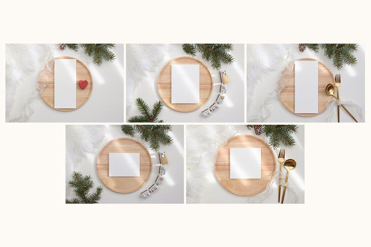 23款简约带阴影圣诞节贺卡卡片样机套装 Christmas Bundle Card Mockup插图(5)