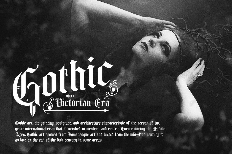 时尚复古哥特风格衬线英文字体素材 Old Charlotte – Bold Decorative Gothic Font插图(5)