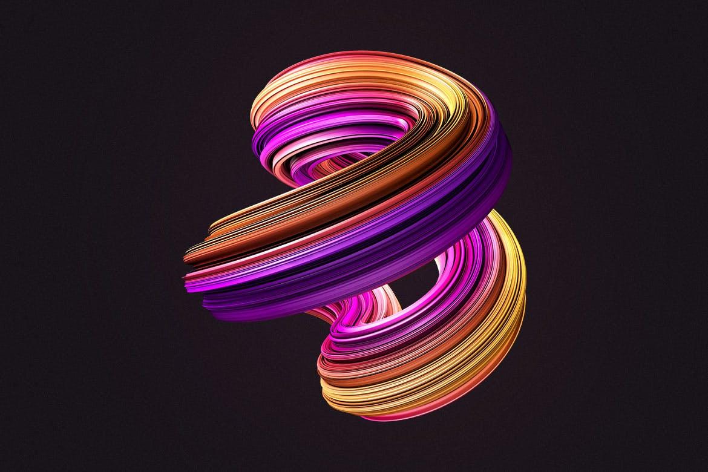 10款创意抽象炫彩3D扭曲图形PNG免扣图片设计素材 3D Twisted Decorative Shapes Backgrounds插图(5)