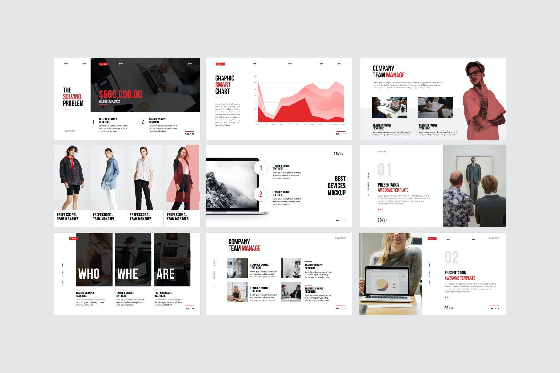 简约服装摄影作品集演示文稿设计模板 Dropship – Powerpoint Template插图(5)