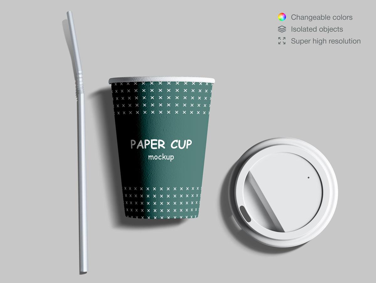 咖啡纸杯包装纸袋设计展示样机模板合集 Takeaway Paper Cups and Coffee Branding Mockup Set插图(13)