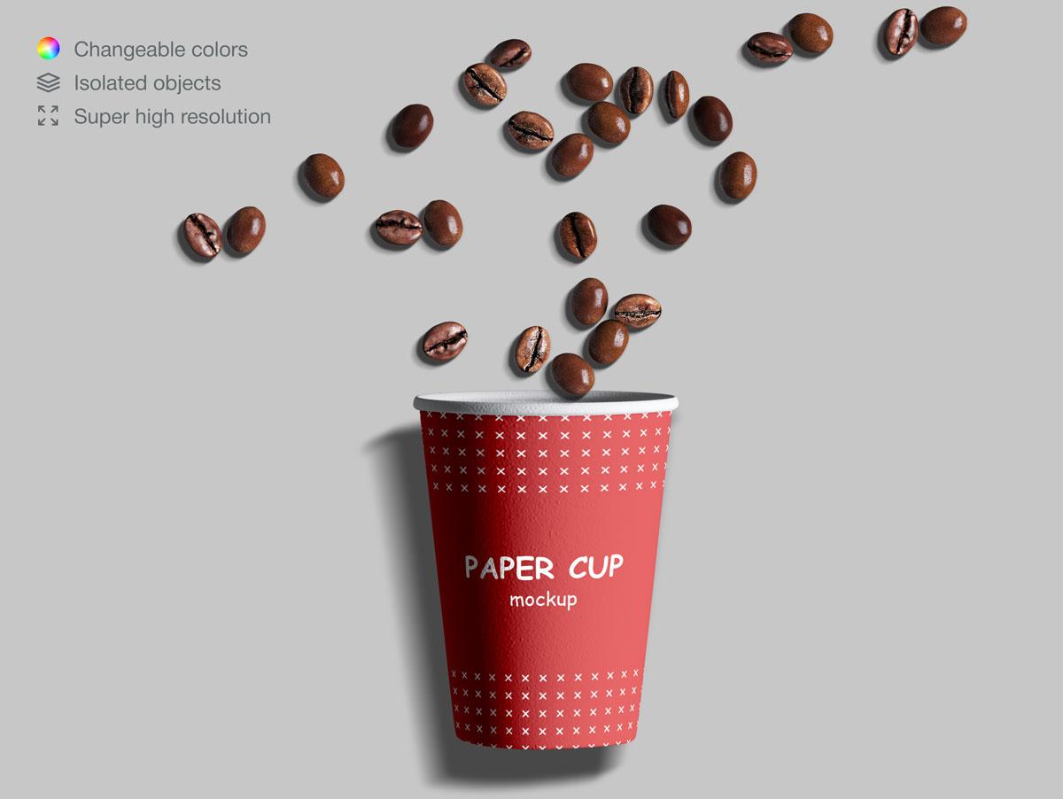 咖啡纸杯包装纸袋设计展示样机模板合集 Takeaway Paper Cups and Coffee Branding Mockup Set插图(14)