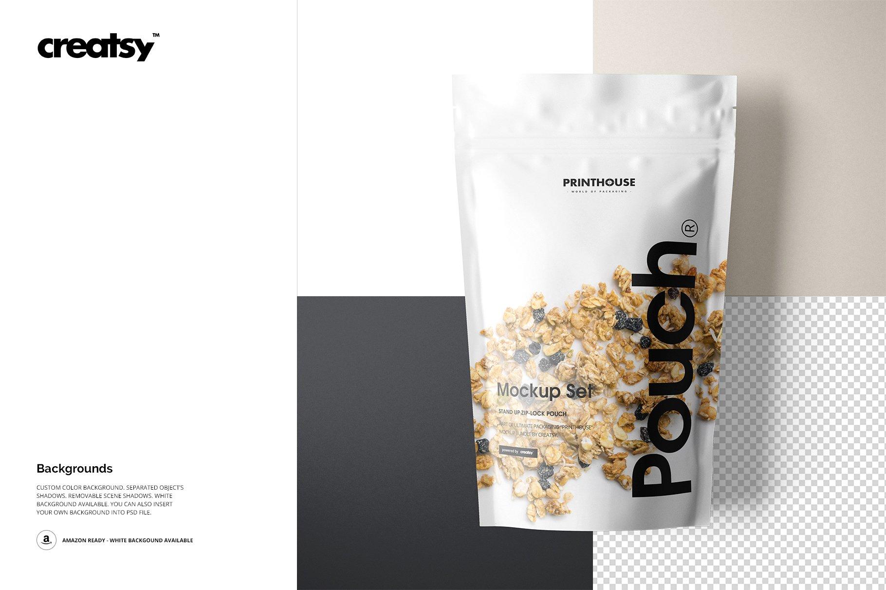 简约立式拉链锁食品自封袋塑料袋设计展示样机合集 Stand Up Pouch Mockup Set 2插图(8)