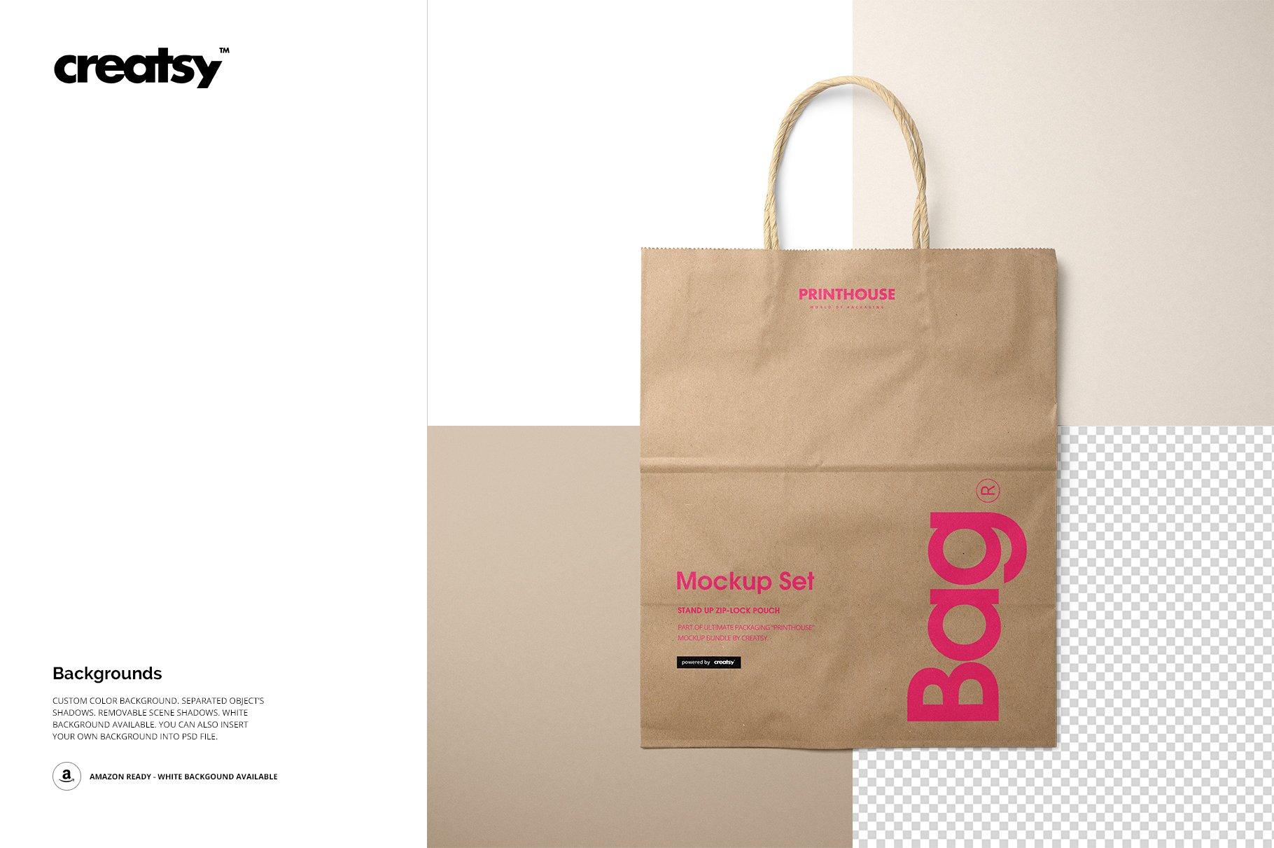 [淘宝购买] 时尚牛皮纸购物手提纸袋设计贴图样机模板 Natural Kraft Shopping Bag Mockup 2插图(9)