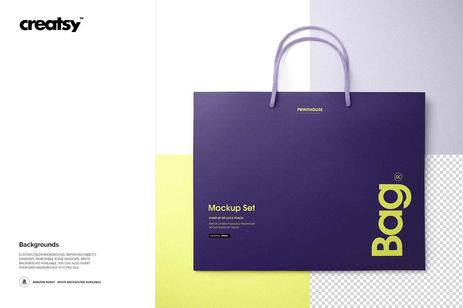 极简购物手提纸袋设计展示贴图样机PS设计素材 Eurotote Bag Mockup Set 1插图(9)