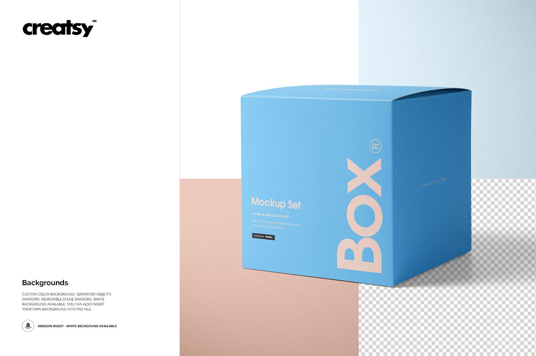 方形哑光产品礼品包装纸盒设计贴图样机套装 Matte Gift Square Box Mockup Set插图(7)
