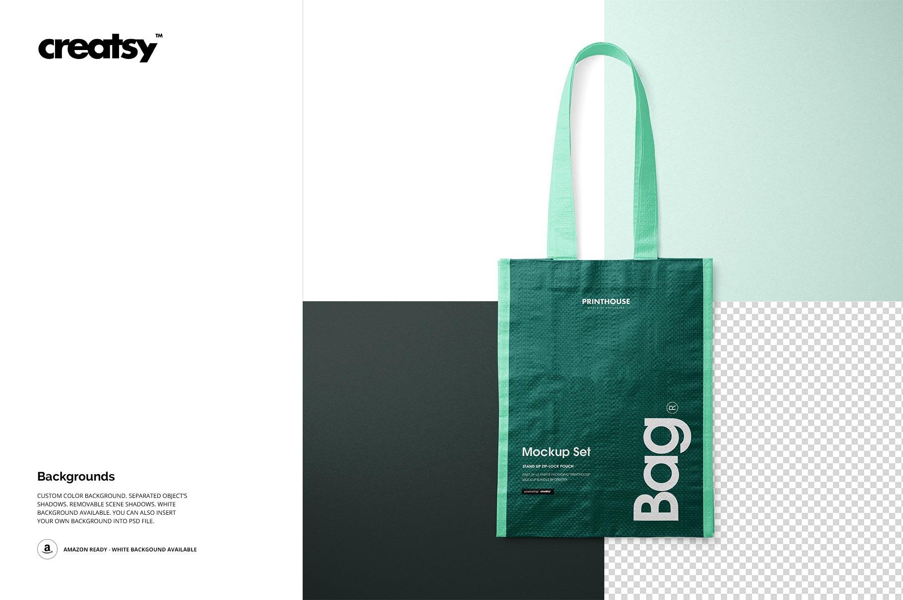 时尚编织手提购物袋设计展示贴图样机模板合集 Woven Tote Bag Mockup Set插图(8)