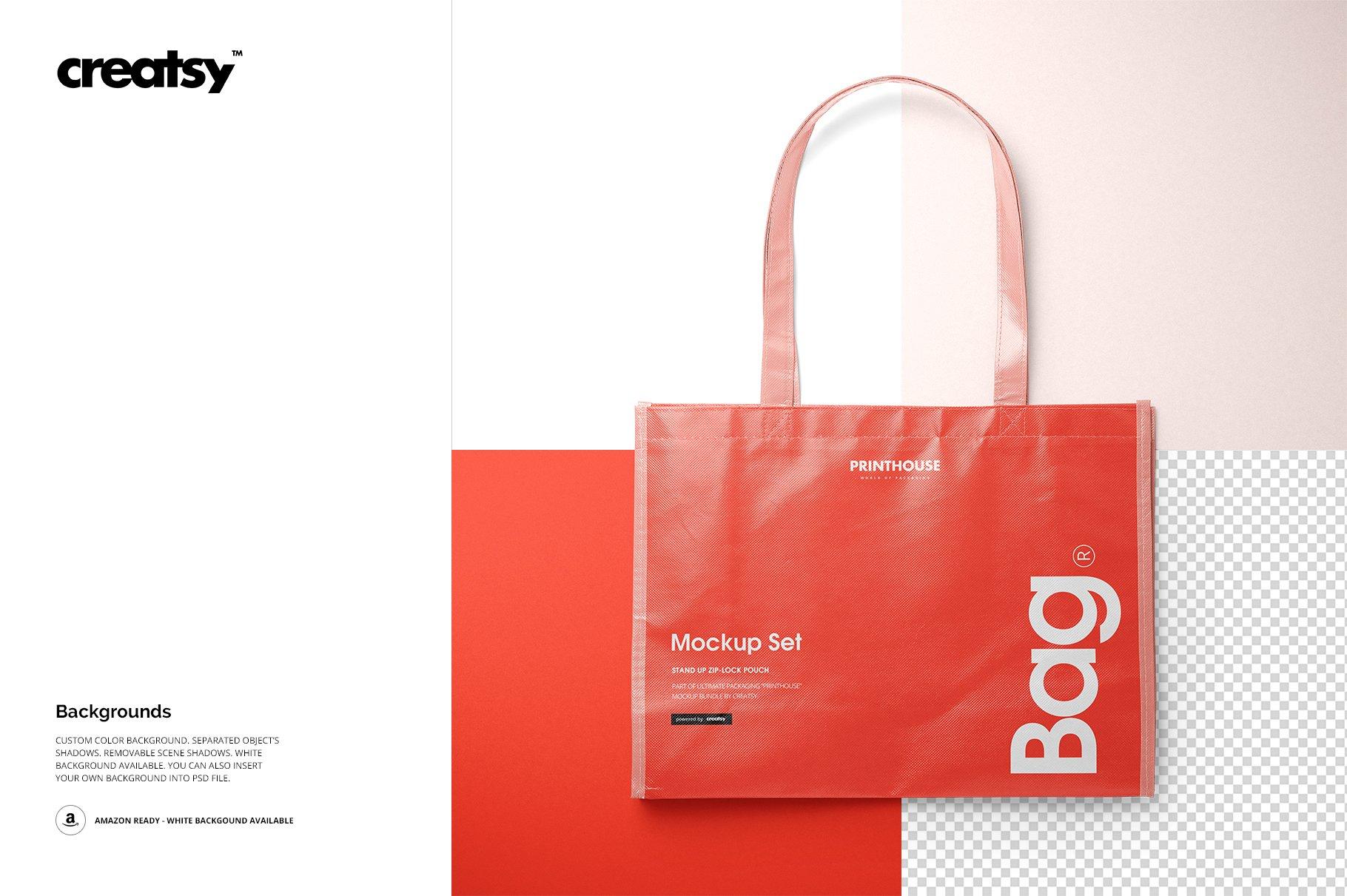 层压光面无纺布购物手提袋设计贴图样机模板套装 Laminated Non-Woven Tote Bag Mockups插图(8)