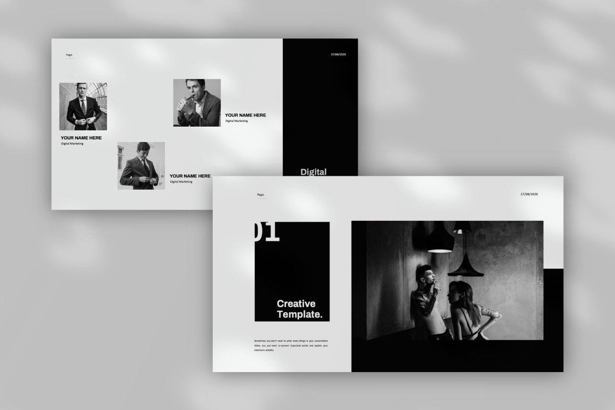 黑白调摄影作品集设计演示文稿模板 Solasta – Powerpoint插图(6)