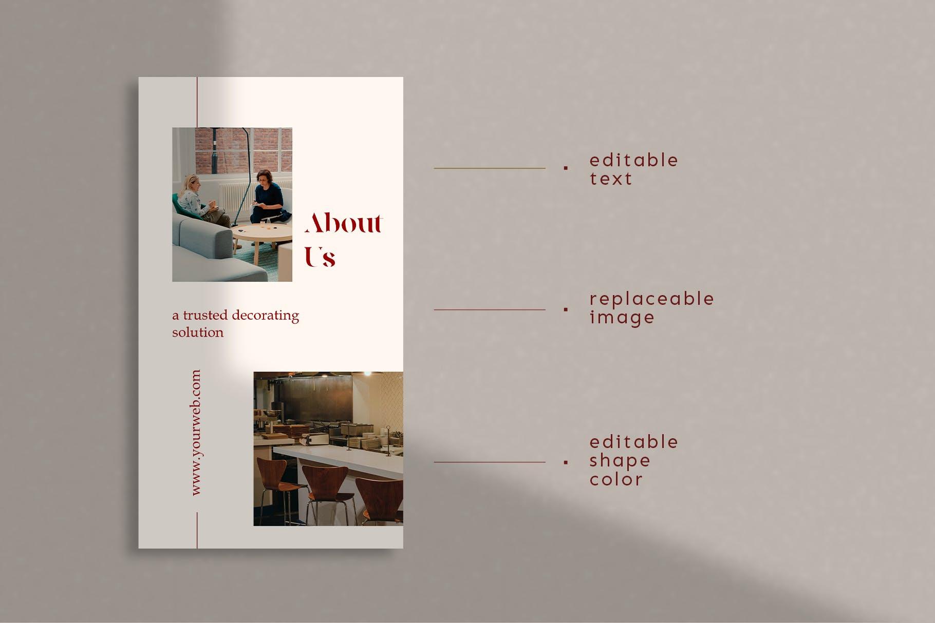 时尚室内设计摄影作品集推广新媒体电商海报模板 Walnut – Instagram Template插图(6)
