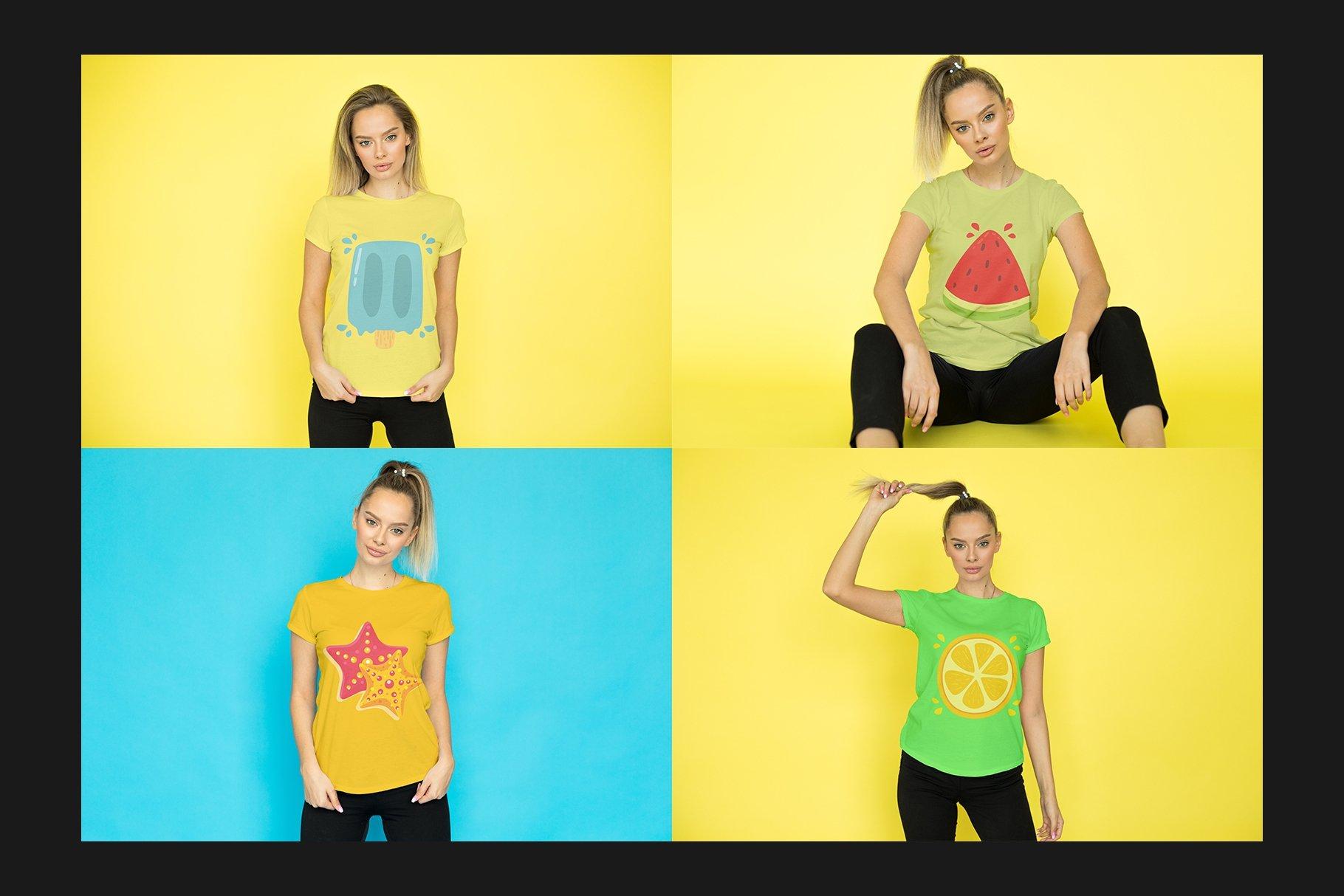 12个女式T恤半袖衫印花图案设计展示样机模板 T-Shirt Mockup Set插图(6)