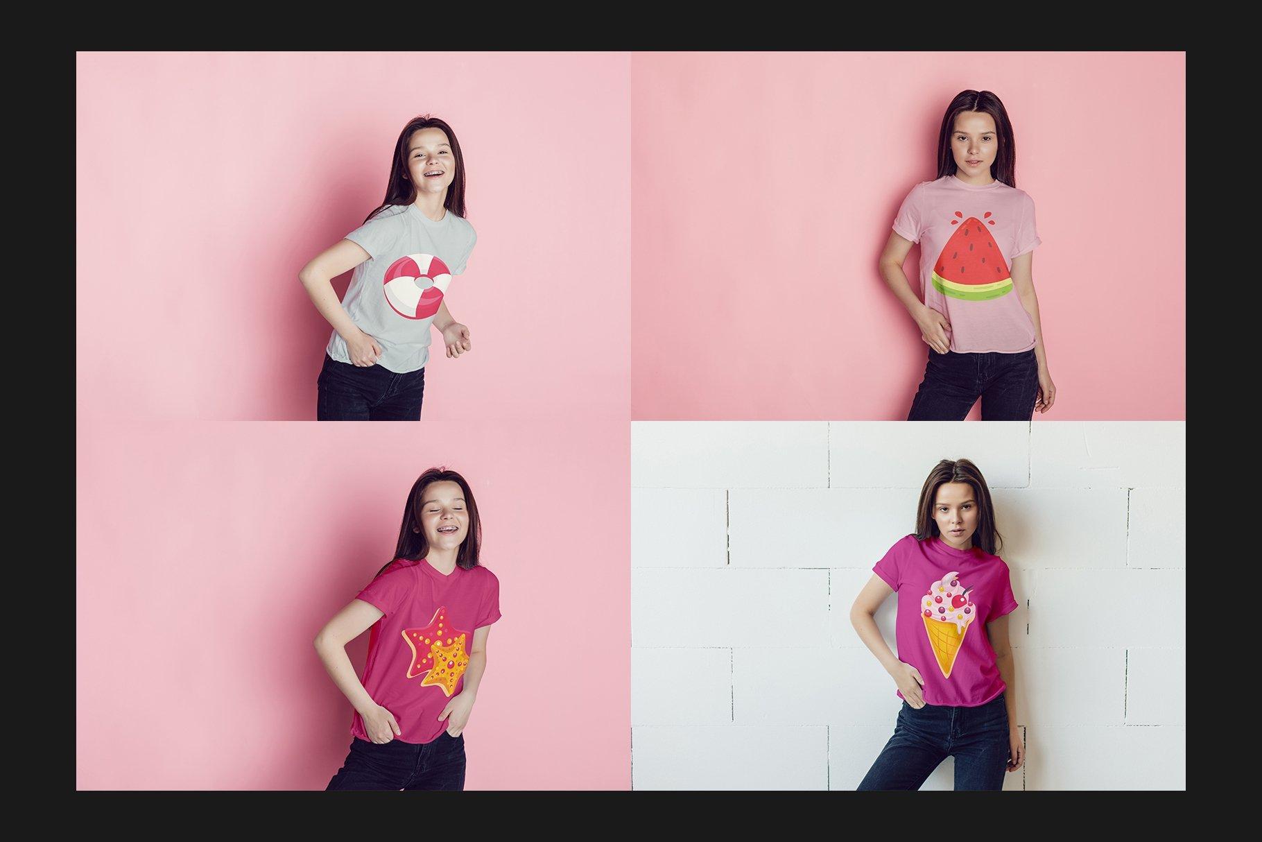 青少年T恤半袖衫印花图案设计展示样机合集 Teenager T-Shirt Mockup Set插图(7)