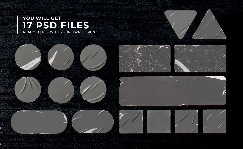 17款褶皱破裂不干胶标签设计展示样机模板 Peeled Sticker Mockup插图(6)