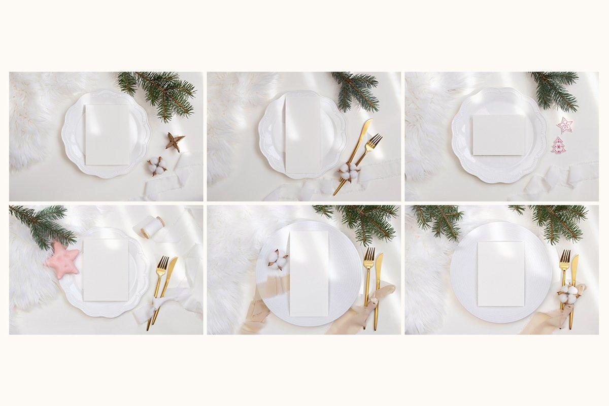 23款简约带阴影圣诞节贺卡卡片样机套装 Christmas Bundle Card Mockup插图(6)