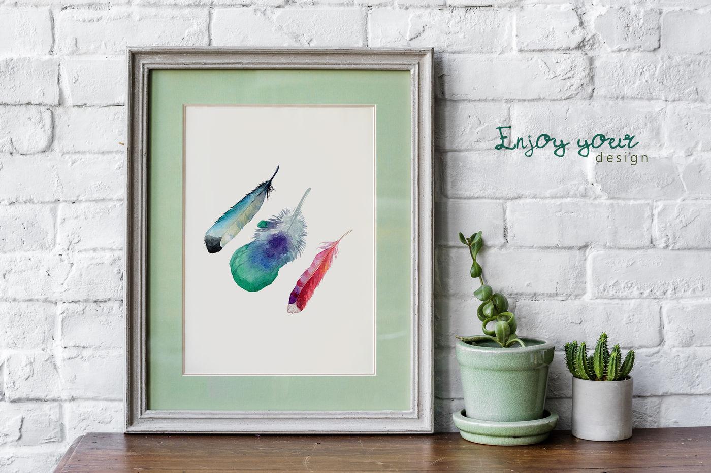 55款羽毛手绘水彩剪贴画PNG免抠透明图片素材 Feather Watercolor Png插图(6)